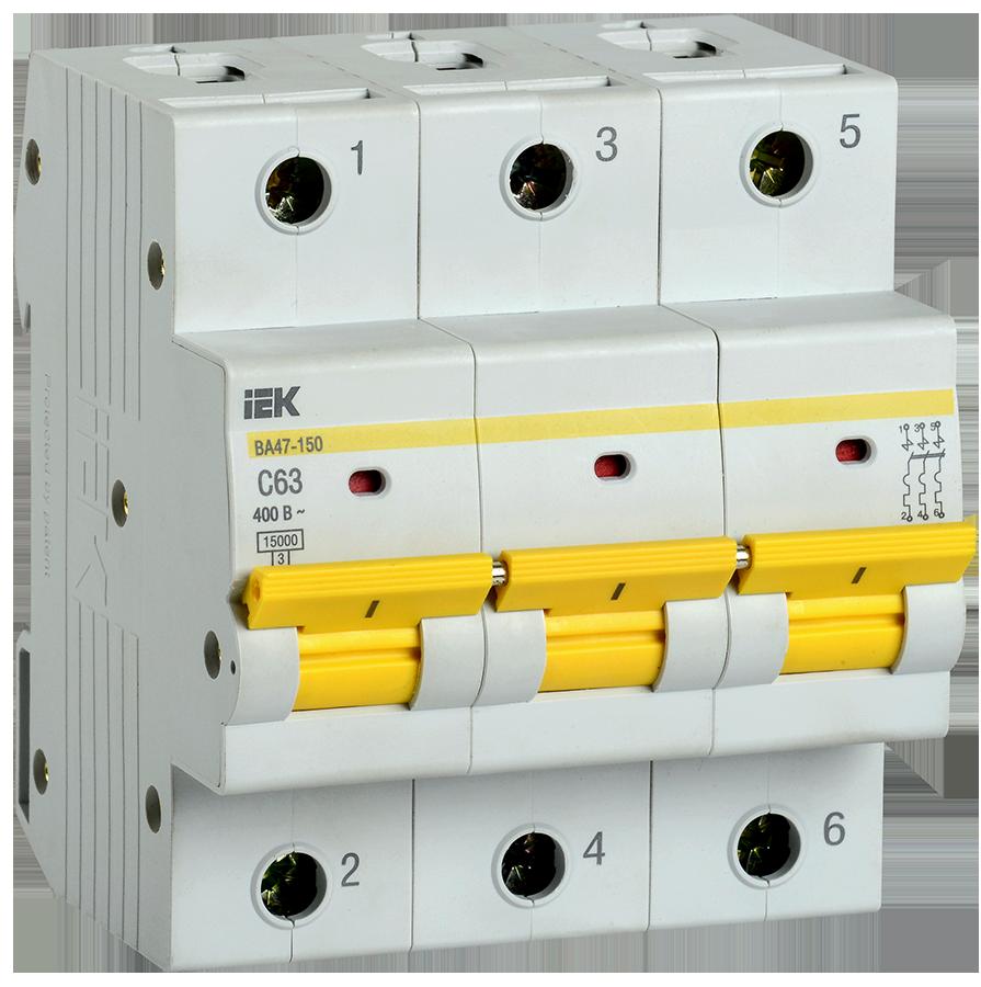 Выключатель автоматический ВА47-150 3Р 63А 15кА х-ка C IEK