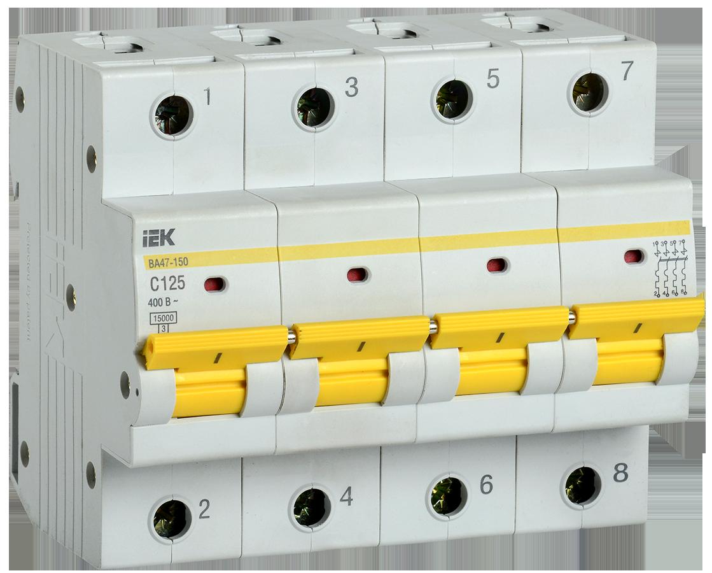 Выключатель автоматический ВА47-150 4Р 125А 15кА х-ка C IEK