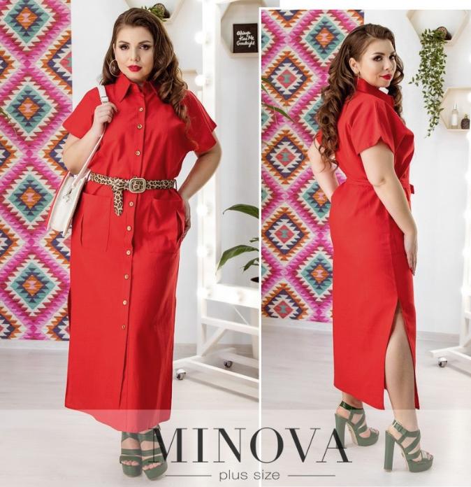 5c430363f80 Льняное платье-рубашка длины-миди с мягким поясом в тон размеры с 50 ...