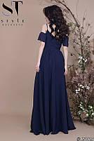 Вечірнє плаття в підлогу з легкої шифонової тканини на тонких бретелях розміри S-ХL, фото 3