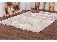 Купить ковры 2.5х3.5 со скидкой,ковер шегги дизайнерский белоснежный с вставками кожи, фото 1