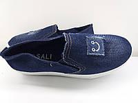 Туфли слипоны женские натуральний джинс синий +вышивка.Фабричная Турция.  39, 40.41