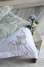 Комплект постельного белья сатин люкс Pepper home евро размер Daisy yesil