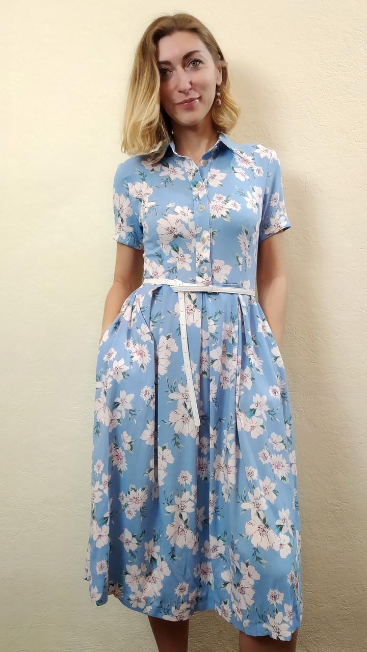 e32144c5e5b Платье летнее миди с карманами из стрейч-льна П208  продажа