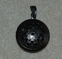 Круглый черный медальон фоторамка для 1 фото.