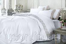 Комплект постельного белья сатин люкс Pepper home евро размер Gloria pudra