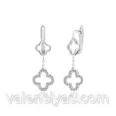 Серебряные серьги с подвесками клевер СК2Ф/1013