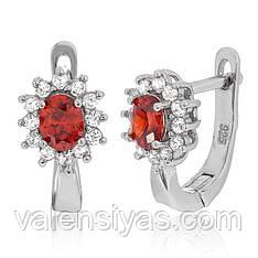 Серебряные серьги с красными фианитами СК2ФГ/375