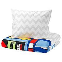 IKEA LATTJO Комплект постельного белья, большой робот, светло-серый  (703.768.15)