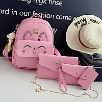 Рюкзак с ушками+сумочки набор 4в1 розового цвета опт, фото 1