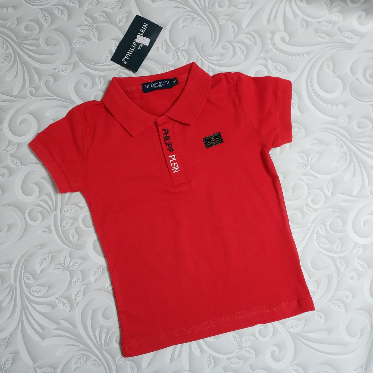 Красная футболка поло Philipp Plein детская