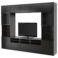IKEA BESTA Тумба под телевизор с стеклянными дверьми, Ханвикен, Синдвик синдвик (091.947.63), фото 1