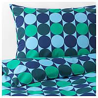 IKEA KROKUSLILJA Комплект постельного белья, синий/зеленый  (204.232.87)