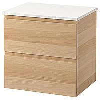 IKEA GODMORGON/TOLKEN Шкаф под умывальник с раковиной, дубовый шпон, белый  (592.954.20), фото 1
