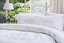 Комплект постельного белья сатин люкс Pepper home евро размер Lucy beyaz