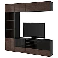 IKEA BESTA Тумба под телевизор с стеклянными дверьми, черно-коричневый, (691.949.39), фото 1