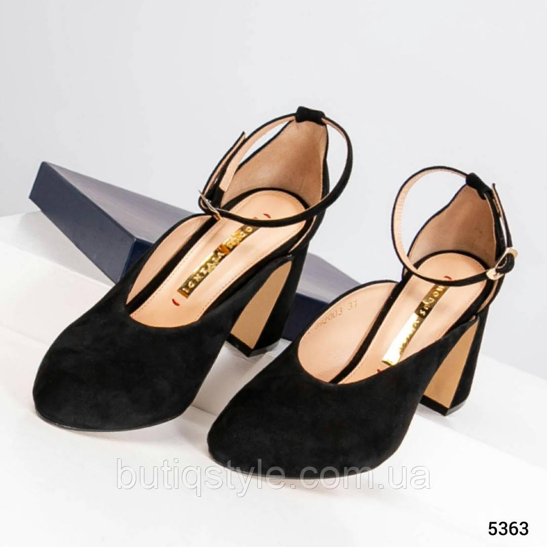 Женские открытые черные туфли на удобном каблуке натуральный велюр 2019