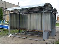 Зупинка громадського транспорту з профнастилу та урною (стандарт) 4500*2000