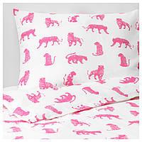 IKEA URSKOG Комплект детского постельного белья, тигр, розовый  (104.027.56)