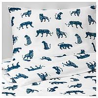 IKEA URSKOG Комплект детского постельного белья, тигр, синий  (003.950.25)