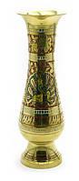 Ваза бронзовая цветная с гравировкой (24,5х7,5х7,5 см)