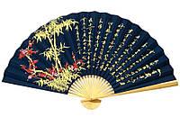 """Веер настенный  """"Сакура с бамбуком на синем фоне с иероглифами"""" шелк (90 см)"""