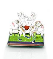 Верблюды с сердечком хрустальные (6х6х3 см)(8425)