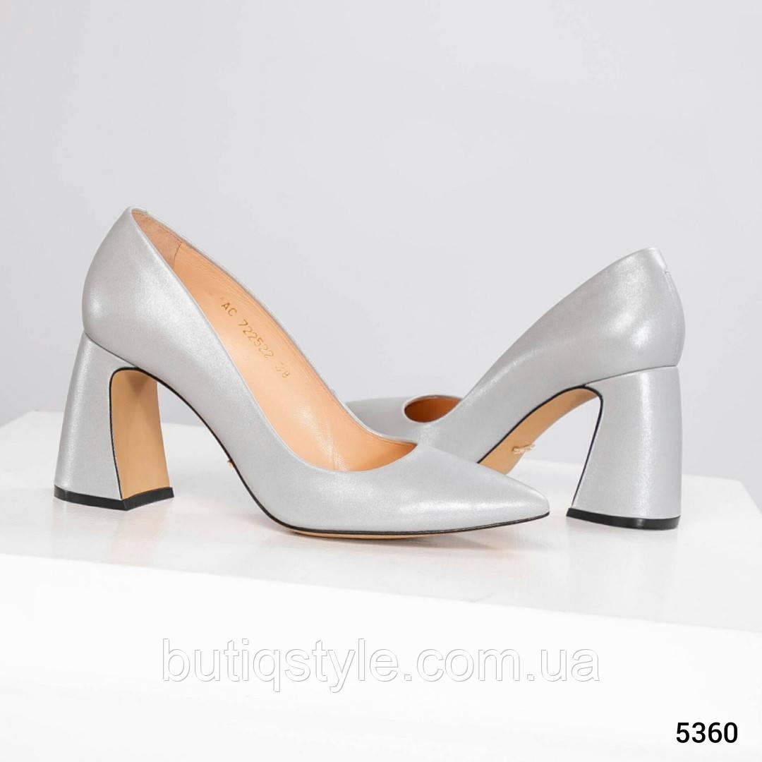 36, 37, 38 размер Женские туфли серый перламутр на удобном каблуке натуральная кожа