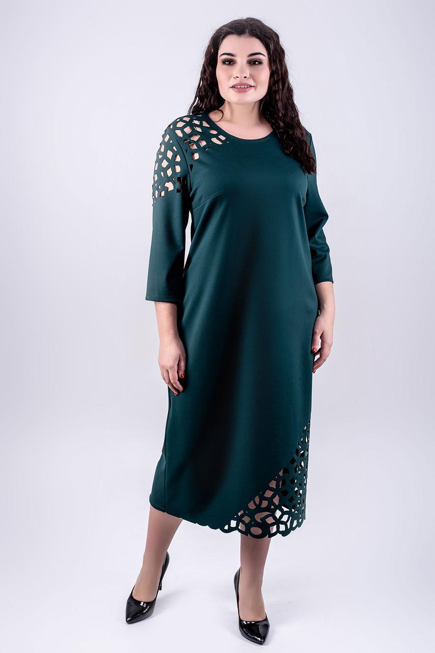 Женское платье большого размера Дорис прямого силуэта / размер 52,54,56,58,60 цвет зеленый