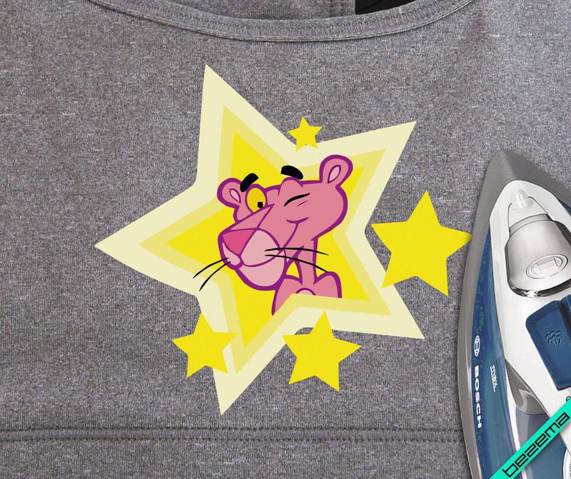 Термопереводки, латки на пуловеры Розовая Пантера звезда [Свой размер и материалы в ассортименте]