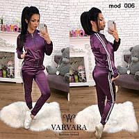 Женский весенний спортивный костюм кофта штаны с ломпасами фиолетовый 42-44 44-46, фото 1