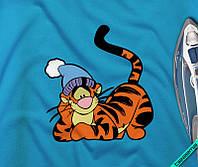 Термоперевод на текстиль для дома Тигра в шапке [Свой размер и материалы в ассортименте]