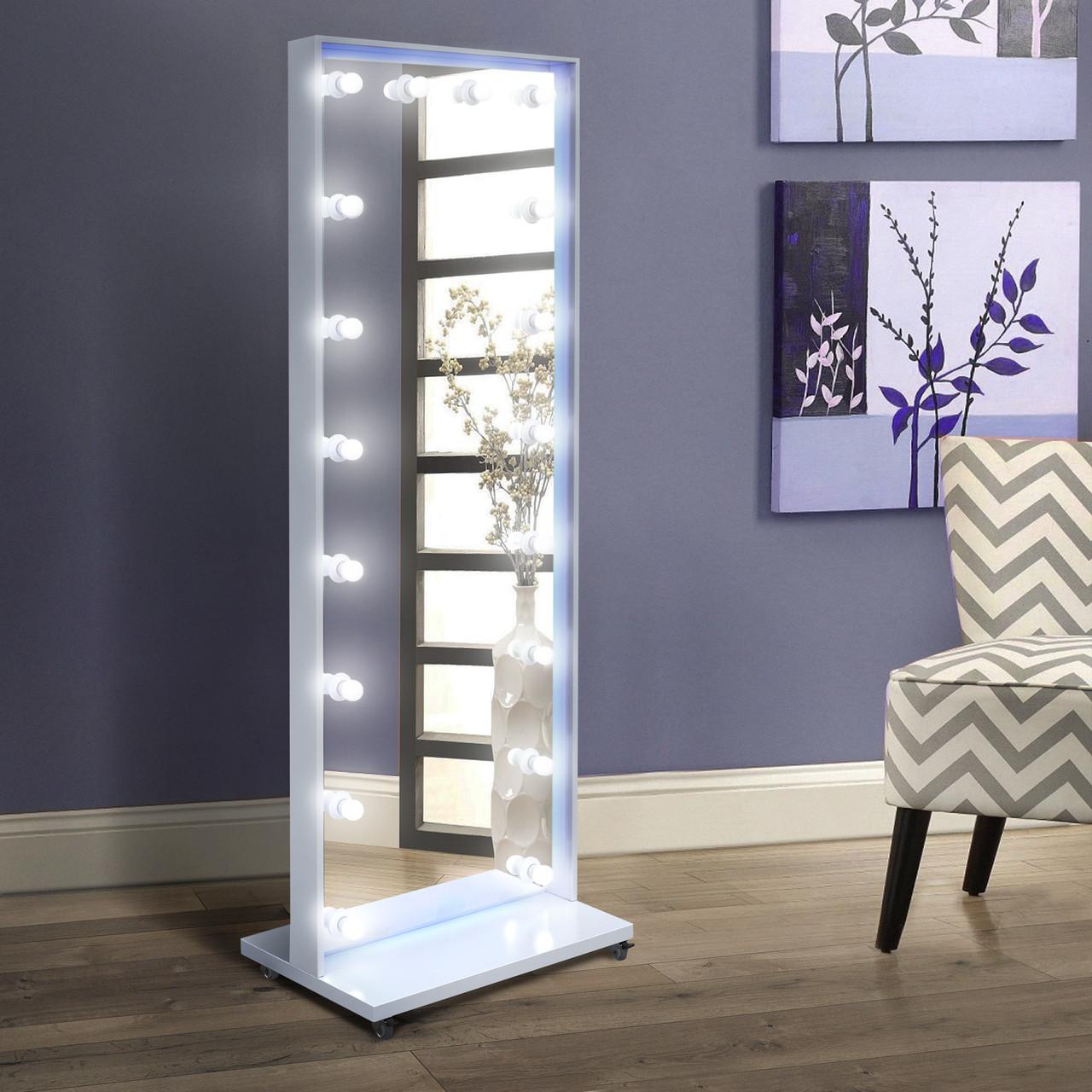 Напольное зеркало с лампочками и Led подсветкой 1900х700 мм