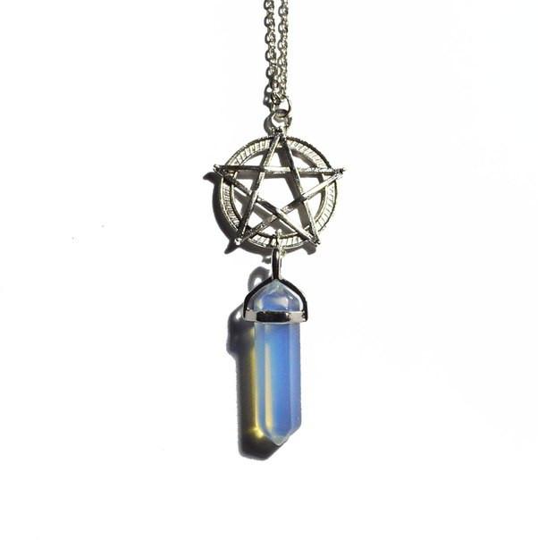 Кулон маятник из лунного камня с пентаграммой