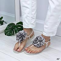 Босоножки Flowers силиконовые с цветком серые, фото 1