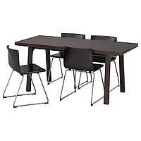 IKEA VASTANBY/VASTANA/BERNHARD Стол и 4 стула, темно-коричневый, Кават (891.615.65)