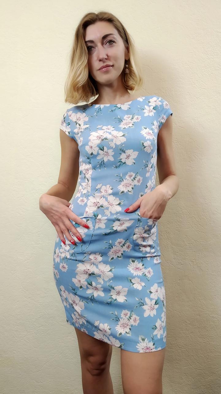 750beb2c847 Летнее женское голубое платье футляр с карманами П180к  продажа ...