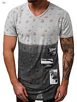 Мужская футболка удлиненная серая