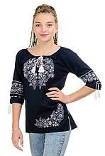 Стильная женская вышиванка Модерн, темно-синяя