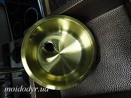 Кухонная мойка с нержавеющей стали + покрытие PVD 300 мм (античная латунь)