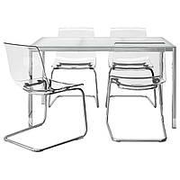 IKEA TORSBY/TOBIAS Стол и 4 стула, стекло белое, прозрачное  (291.974.16)