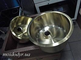 Кухонная мойка с нержавеющей стали + покрытие PVD 300 мм (светлая латунь)