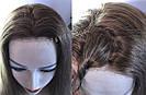 💎 Парик из натуральных волос с имитацией кожи головы, русый на сетке с шелком 💎, фото 6