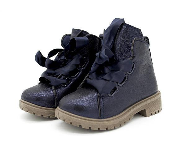 Ботинки весна-осень синие для девочек Размеры: 24 24 размер-15 см;, фото 2