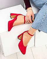 Черный, голубой, красный. Изумительные замшевые женские туфли из итальянской замши ремешок, фигурный каблук