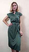 Женское зеленое платье с рукавом японка П263, фото 1