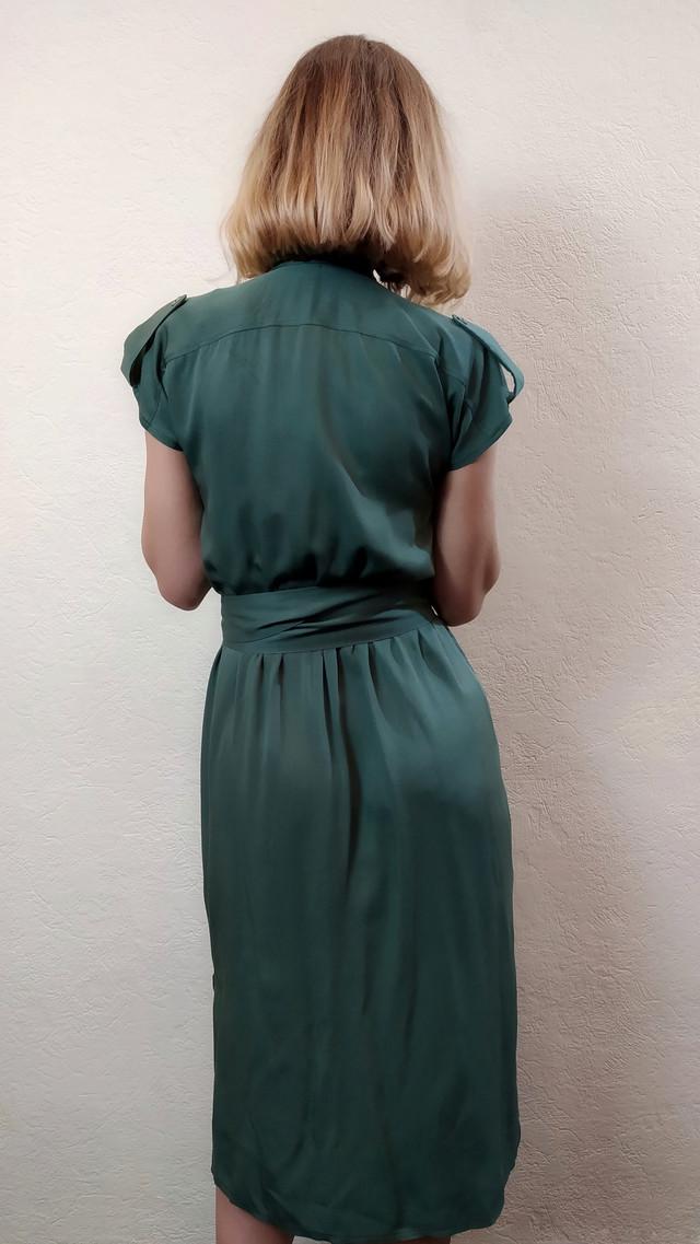 Женское зеленое платье с рукавом японка П263
