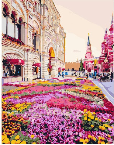 Картина по номерам Розовая клумба 40 х 50 см (BK-GX25493)