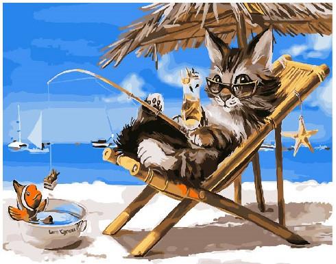 Картина по номерам Котик на каникулах 40 х 50 см (BK-GX26079)