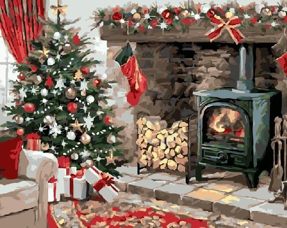 Картина по номерам Рождественский очаг 40 х 50 см (BRM21291)